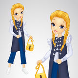 Blonde Girl In Long Waistcoat Royalty Free Stock Photography