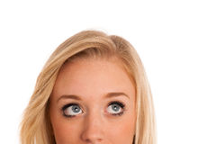 Blonde girl looking into copyspace Stock Photography