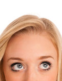 Blonde girl looking into copyspace Stock Photos