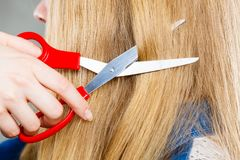Blonde girl makes new hair image. Royalty Free Stock Photo