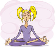 Blonde girl meditating Royalty Free Stock Image