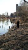 Blonde girl near river stumps Stock Images