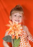 Blonde Girl in Orange. A cute little blonde girl wearing orange holding an orange flower stock photography