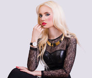 Blonde girl with perfect make up Royalty Free Stock Photo