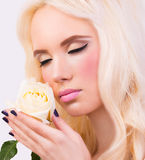 Blonde girl with perfect makeup Stock Images