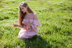 Blonde girl in pink dress is collecting flowers in the garden. 1 stock photos