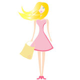 Blonde girl in a pink dress Stock Photo