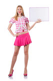 Blonde girl in pink with poster isolated on white Stock Photos