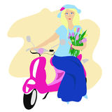 Blonde girl on a pink scooter Royalty Free Stock Image