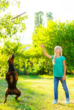 Blonde girl playing with the dog or doberman in Royalty Free Stock Photography