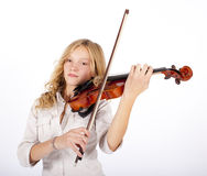 Blonde girl plays on the violin Stock Photo