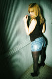 Blonde Girl Posing In Elevator Stock Images