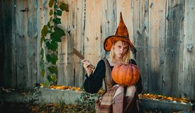 Blonde girl is preparing to carving a pumpkin. Witch posing with Pumpkin on wood background. Happy gothic young woman in. Witch posing with Pumpkin. appy royalty free stock photography