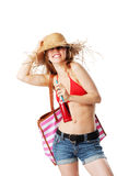 Blonde girl ready for the beach Stock Photography