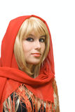 Blonde girl in red Royalty Free Stock Photo