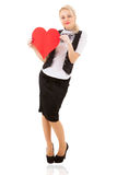Blonde girl and red heart Stock Photos