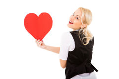 Blonde girl and red heart Stock Images