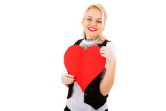 Blonde girl and red heart Royalty Free Stock Image