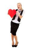 Blonde girl and red heart Stock Image