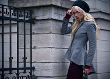 Blonde girl with red lips outdoors Stock Photography
