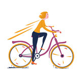 Blonde girl riding a vintage bicycle. Vector illustration of a blonde girl riding a vintage bicycle Royalty Free Stock Image