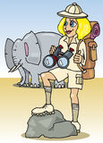 Blonde girl on safari. Cartoon illustration of cute blonde woman on safari in africa Royalty Free Stock Photography