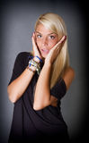 Blonde girl say oh my god. Gray background Royalty Free Stock Photo