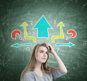 Blonde girl scratching head, questions, arrows stock photo