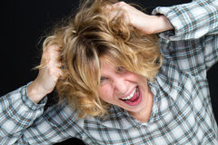 Blonde girl screaming Royalty Free Stock Photography