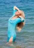 Blonde girl sea Royalty Free Stock Images