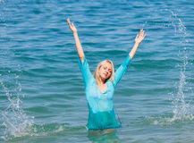 Blonde girl sea Royalty Free Stock Photography