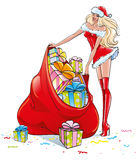 Blonde girl in a Sexy Santa Claus costume, is holding a big bag with a lot of colorful Christmas gift, on the New Year's Eve Stock Photo