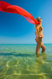Blonde girl with shawl Royalty Free Stock Image