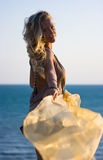 Blonde girl with shawl Royalty Free Stock Photo