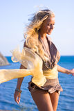 Blonde girl with shawl Stock Images