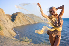 Blonde girl with shawl Stock Photo