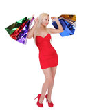 Blonde girl with shopping bags Stock Photo