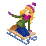 Blonde Girl Sledding In Winter Royalty Free Stock Image