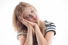 Blonde girl sleeps Stock Images
