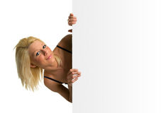 Blonde girl smiling stock images