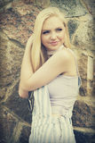 Blonde girl smiling Stock Photo