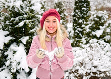 Blonde girl and snow stock photo