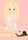 Blonde girl in spa Stock Image