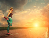 Blonde girl started running royalty free stock photo