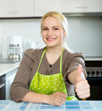 Blonde girl staying at kitchen Stock Photography