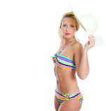 Blonde girl with straw hat Stock Photo