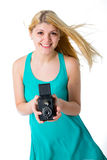 Blonde girl in a summer dress with retro photo Royalty Free Stock Photo