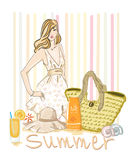 blonde girl Summer outfif Royalty Free Stock Images