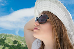 Blonde girl with sunglasses Stock Photo