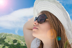 Blonde girl with sunglasses Royalty Free Stock Photo